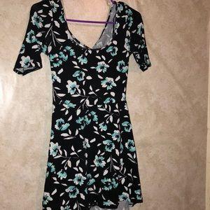 Floral black blue off the shoulder dress